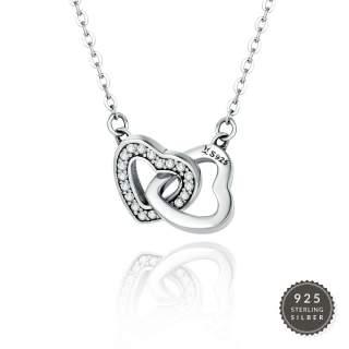 Halskette Double Silver Heart